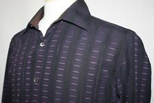 Ted Baker London Sz 4 Large Black Purple Stripe Slim Fit Button Front Shirt