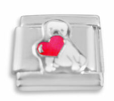 Italian charm Dog with heart 9mm link   (C11)