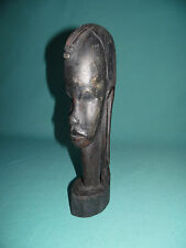 Old Kenya Africa carved ebony wood Maasai warrior tribe head bust Massai carving