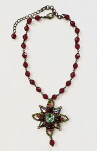 """Sorrelli Crystal Choker Necklace Red Chartreuse Iridescent 13-16.5"""""""