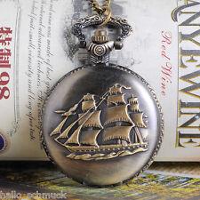 HS 1 Vintage Taschenuhr Halskette Kettenuhr Gravur Segelschiff Bronzefarbe 80cm