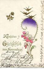 uralte AK, Herzlichen Glückwunsch zum Namenstage, Blumen mit Vögel, 1905