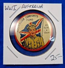 Original Vintage Wwi Ww1 Australian Comforts Fund My Flag and Yours Pin Button