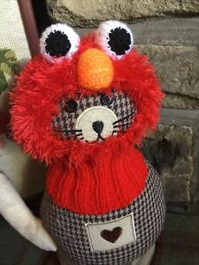 New Hand Knitted Red Monster( Like Elmo)  Balaclava Hat For Small Dogs,Eg Pug