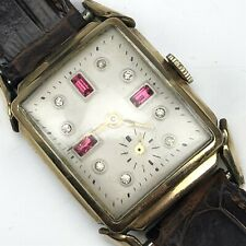 Antique Bulova ? Art Deco Diamond Red Ruby 10K Roll Gold Plate Wrist Watch WORKS