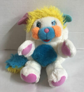"Vintage 1986 Mattel Popples Puffball White Blue Pink Yellow Orange Plush 12"""