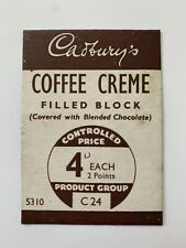 More details for vintage 1940s cadbury's coffee chocolate wartime ww2 advert shop price card
