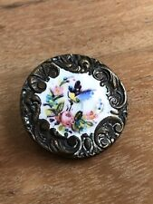 Antique Button Hand Painted With Rococo Border