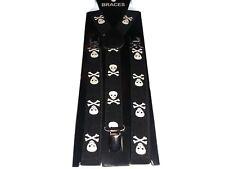 Easy Attached Black Skull & Bones Design Adjustable Braces 018