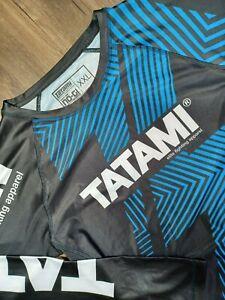 Tatami Fightwear Rashguard Adult 2XL XXL Black Blue Long Sleeve MMA JiuJitsu Men