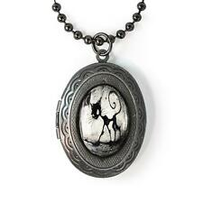 Gothic Black Kitty Cat Glass Gunmetal Horror Halloween Keepsake Locket Necklace