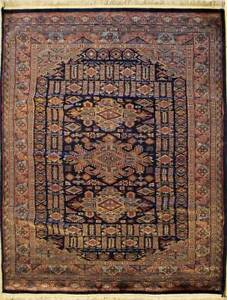 Rugstc 4x6 Caucasian Design Blue Area Rug, Hand-Knotted,Geometric with Wool Pile