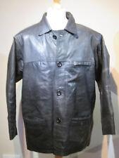 Mens Black Leather Coat (Size L)