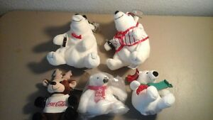 TY BENNIE BABIES ~ 5 Different Christmas Coca Cola Beanie Babies
