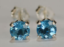 BEENJEWELED GENUINE NATURAL MINED SWISS BLUE TOPAZ EARRINGS~STERLING SILVER~5MM