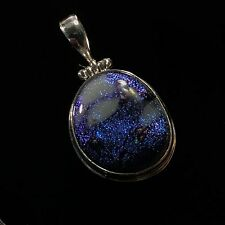 "Sterling Silver dichroic Art Glass Pendant 1 3/4"" Long 1"" Wide Blue White 12g"