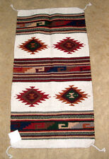 "Throw Rug Tapestry Southwest Western Hand Woven Wool 20x40"" Replica #128 BE"