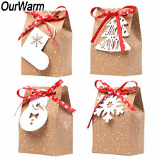 60x Christmas Gift Bag Kraft Paper Bags Sweet Candy Cookie Packaging Box Xmas