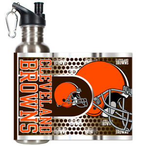 CLEVELAND BROWNS 26 OZ. STAINLESS STEEL WATER BOTTLE HIGH QUALITY NFL LICENSED
