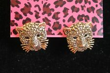 "Betsey Johnson Gold PLated Tiger Head Earrings, 1/2"" , Post"