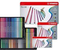 Stabilo Pen 68 Fibre Felt Tip Colouring Pens - Metal Tin 10, 15, 20, 30, 40, 50