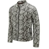 Mens Slim PU Leather Snake Skin Jackets Biker Mock Neck Moto Zip Outwears Coats