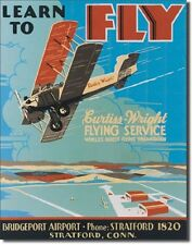 Learn To Fly Flying Service TIN SIGN Garage Airport Biplane Wall Poster Decor