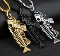 Halskette mit Anhänger Angler Geburtstag Fisch Petri Heil Silber Fish Bone