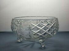 LEAD CRYSTAL CUT GLASS FRUIT AND SALAD FOOTED BOWL
