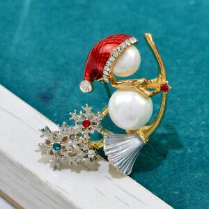 Christmas Snowman Broom Snowflake Crystal Opal Brooch Pin Women Jewelry Gifts