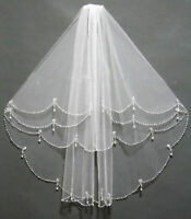 White/Ivory 2T Shoulder Length Wedding Bridal Veil with Beading Pearls Comb