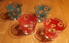 "VINTAGE 4 DRINKING GLASSES  RED GREEN GOLD SPLASH TRIM 3 1/2"" TALL"