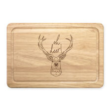 Oh Deer Rectangular Wooden Chopping Board - Funny Stag Joke Animal