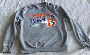 DENVER BRONCOS Mitchell & Ness Retro Vintage Sweatshirt Men's Large Gray NFL