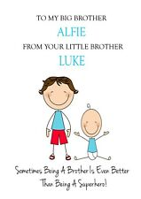 Big Brother to Brother Birthday Card Personalised Cute FREE 1st CLASS POST