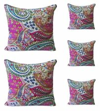 5 PCs Indian Handmade Paisley Printed Kantha Throw Cushion Cover Home Decorative