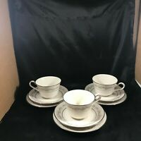 Set of 3 NORITAKE PARKRIDGE Ivory China Teacups Saucers Bread Plates 9 pc total