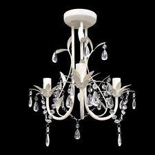 Antique White 3 Light Crystal Chandelier Modern Pendant Ceiling Lamp Lighting