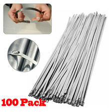 """New listing 100 Pcs 304 Stainless Steel 12"""" Exhaust Wrap Coated Metal Locking Cable Zip Ties"""