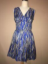 rachel zoe Blue Beige Silk Lined Fit And Flare dress Sz.8- M