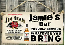 Jim Beam Wooden Sign plaque Country personalised Beer Bar,GARAGE,Shed, Home