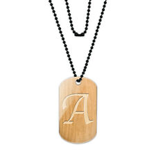 Letter A Wooden Engraving Acrylic Dog Tag with Black Ball Chain