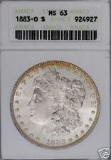 1883-0 TARGET TONED MORGAN DOLLAR ANACS MS63