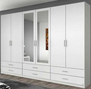 Kleiderschrank Drehtürenschrank 6-türig weiß mit Schubkasten & Spiegel 271 cm