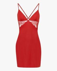 LA PERLA LAYLA Slipdress in garnet Lycra w/Leavers lace: Red, Size L, New w/Tags