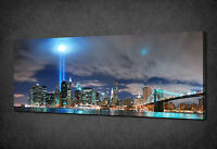 TWIN TOWERS LIGHTS TRIBUTE PANORAMA CANVAS PRINT WALL ART PICTURE READY TO HANG