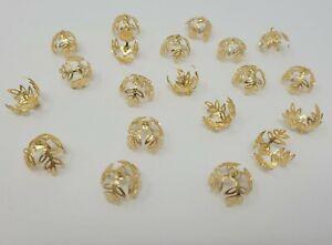 20 pcs Gold Metal Filigree Leaf Leaves Bell Bead Caps w/ Loop 15mm Beading VTG
