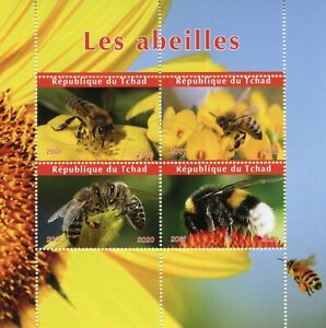 Chad Bees Stamps 2020 CTO Honey Bee Bumblebee Insects 4v M/S
