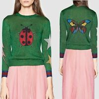 Women Designer Inspired Runway lady bird Embroidered Sequence  Knitwear Jumper