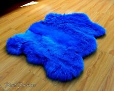 Teal Turquoise Sheepskin Thick Plush Faux Fur Area Rug Nursery Throws Accents